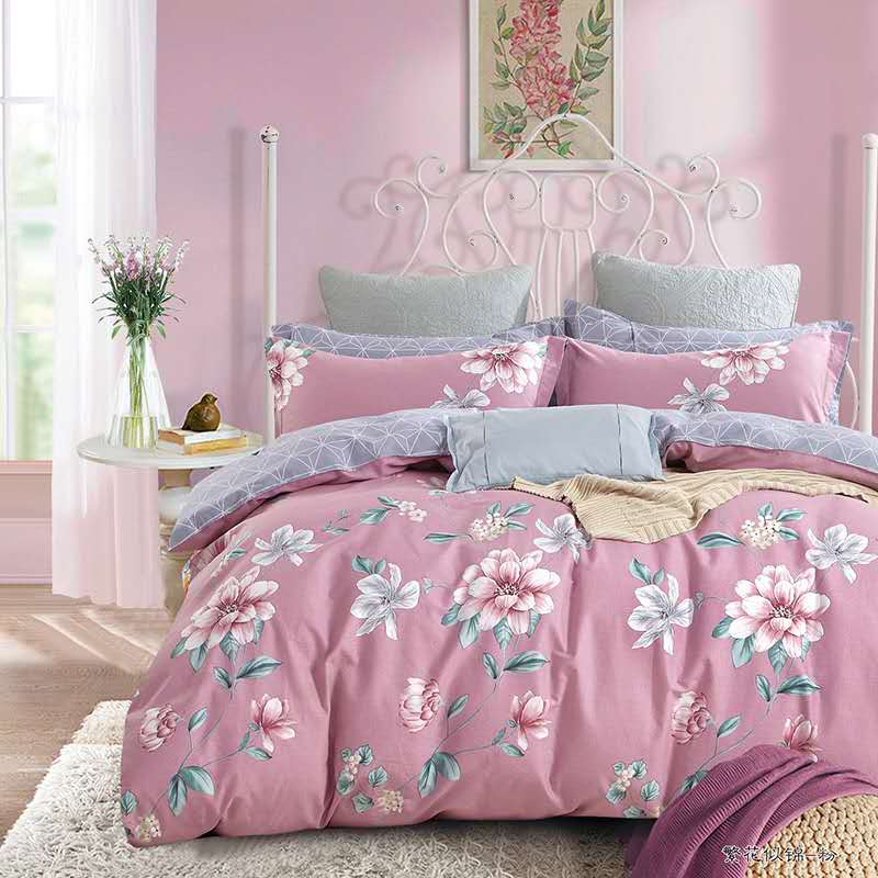 China Factory for High Quality White Comforter - China supplier hot sale floral printed 4 pieces queen size duvet cover set with competitive price  – Meishi