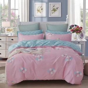 Cotton Floral Comforter Cover Set Soft and Breathable Bedding Set with Zipper Closure and Corner Ties