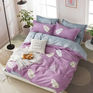 4 Piece Queen 100% Cotton Floral Printed Duvet Cover Set with Pillow Shams