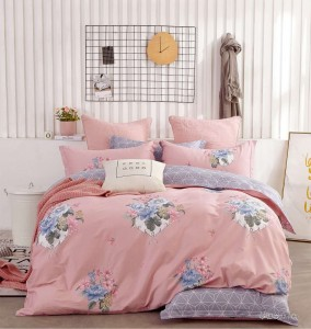 China Supplier Wholesale Cotton Floral Comforter and Easy Care Queen Size Duvet Cover Set with Competitive Price