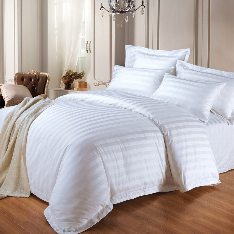 Hotel Collection Dobby Striped Duvet Cover Set Luxury Soft 100% cotton 3cm jacquard design bedding set Featured Image