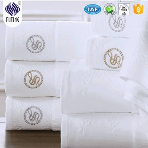 Cotton dobby embroidery face towel dyed color bathroom linens