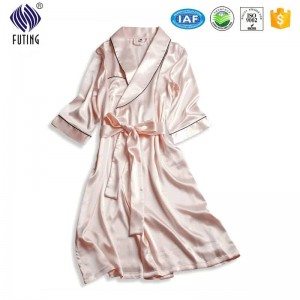 Satin bathrobe women embroidered satin bride bathrobe satin robe
